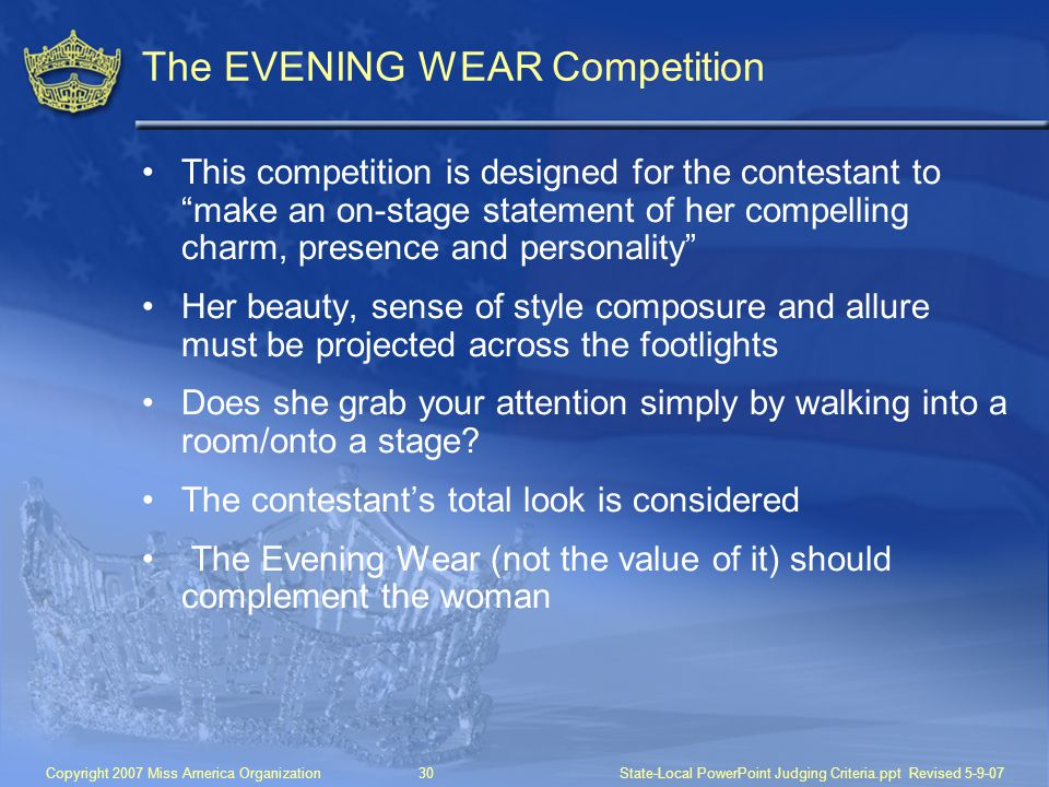 The EVENING WEAR Competition