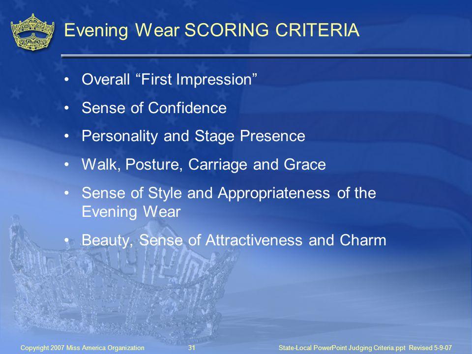 Evening Wear SCORING CRITERIA
