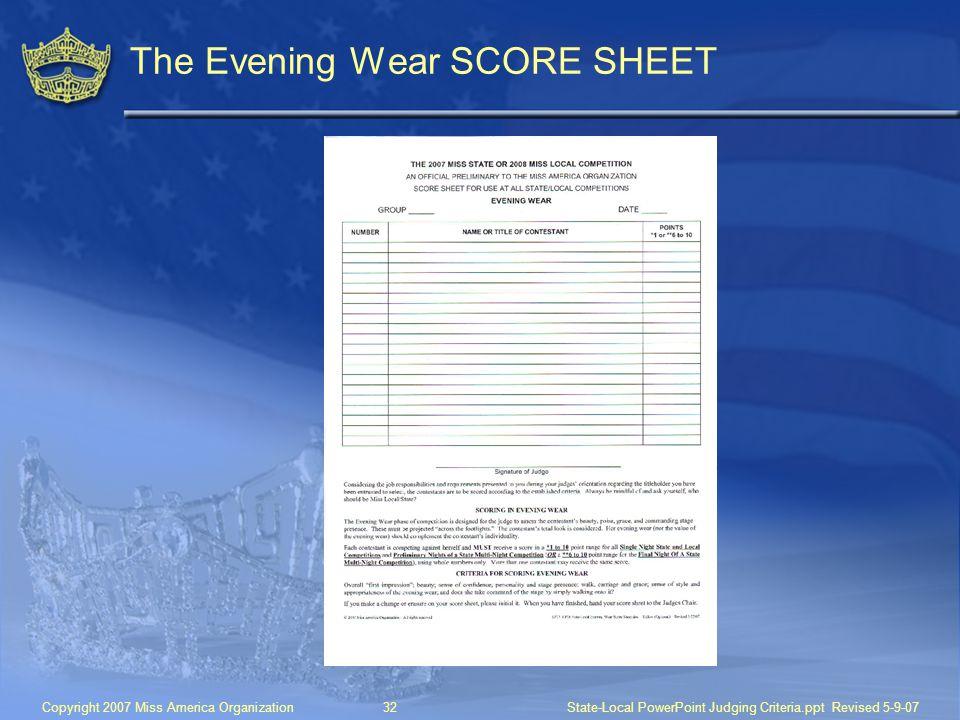 The Evening Wear SCORE SHEET