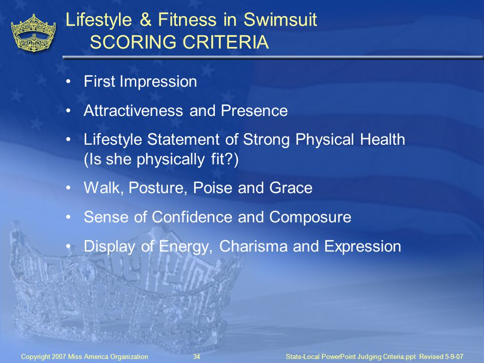 Lifestyle & Fitness in Swimsuit SCORING CRITERIA
