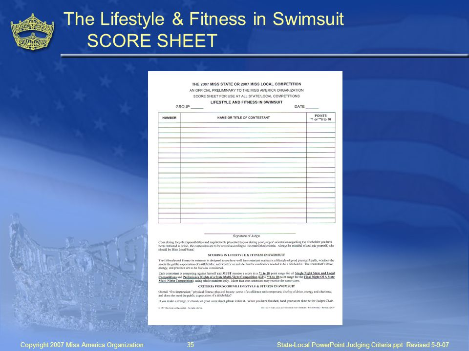 The Lifestyle & Fitness in Swimsuit SCORE SHEET