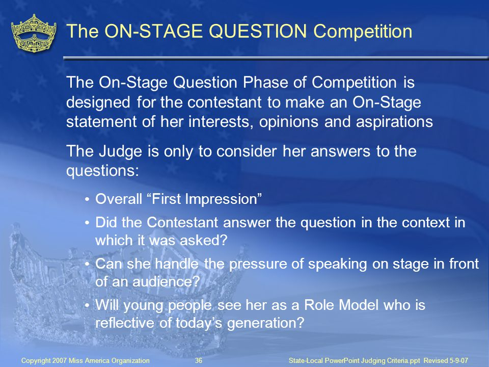 The ON-STAGE QUESTION Competition