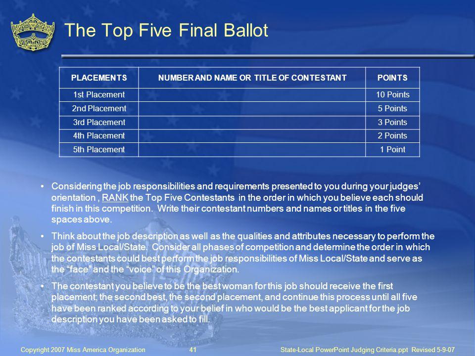 The Top Five Final Ballot
