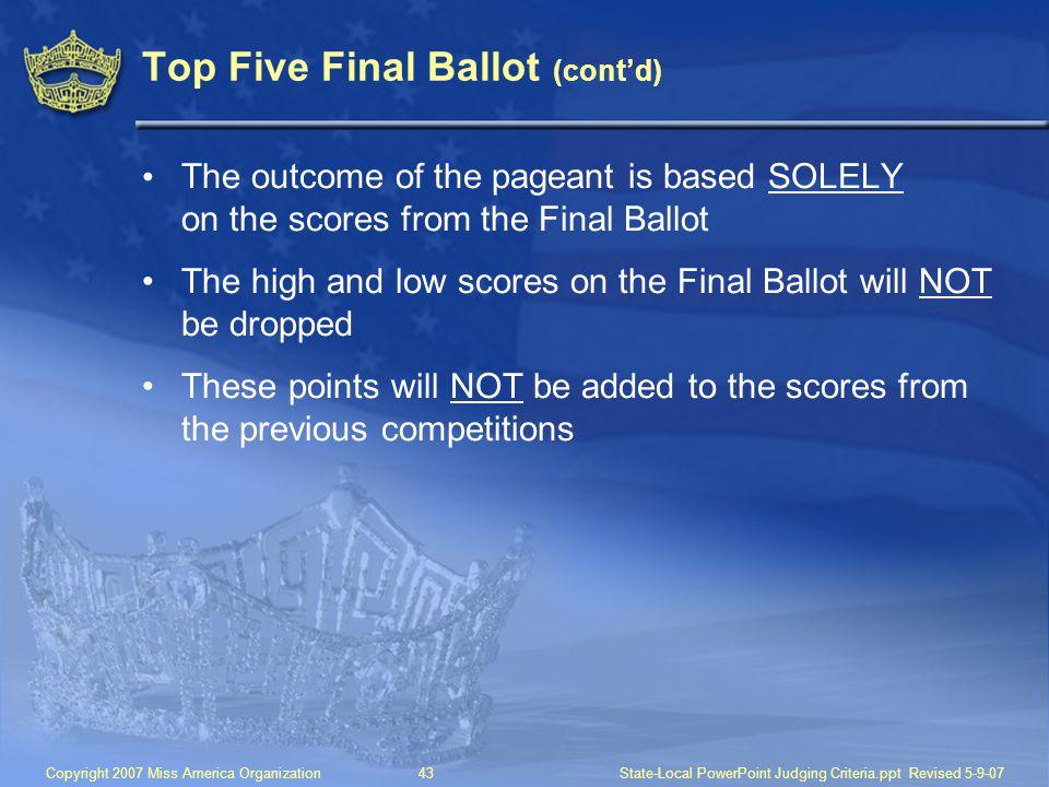 Top Five Final Ballot (cont'd)