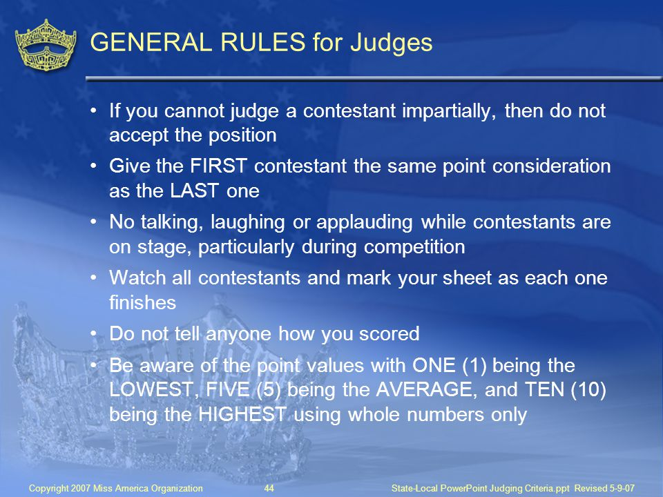 GENERAL RULES for Judges