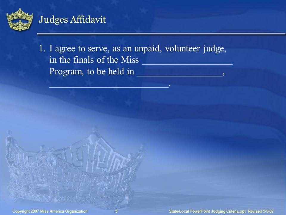 Judges Affidavit