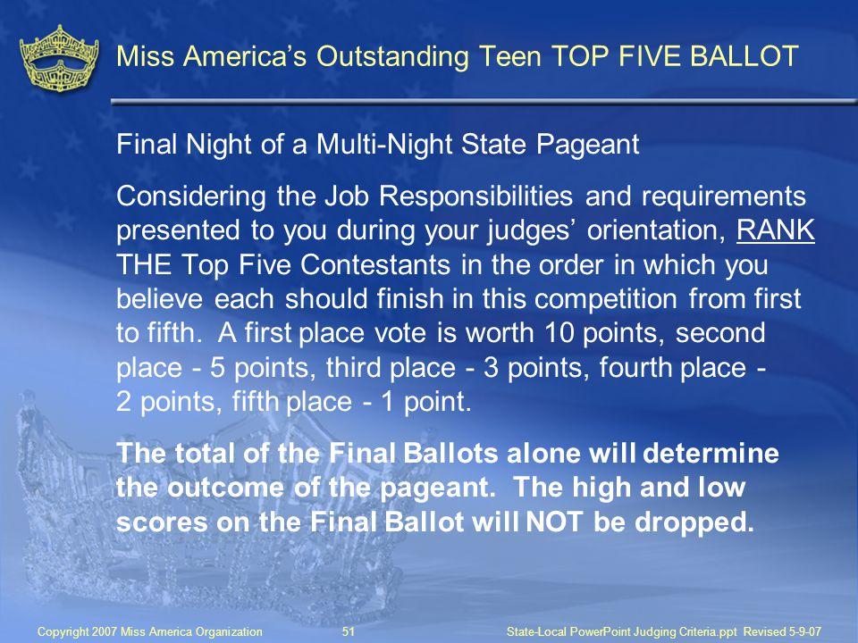 Miss America's Outstanding Teen TOP FIVE BALLOT