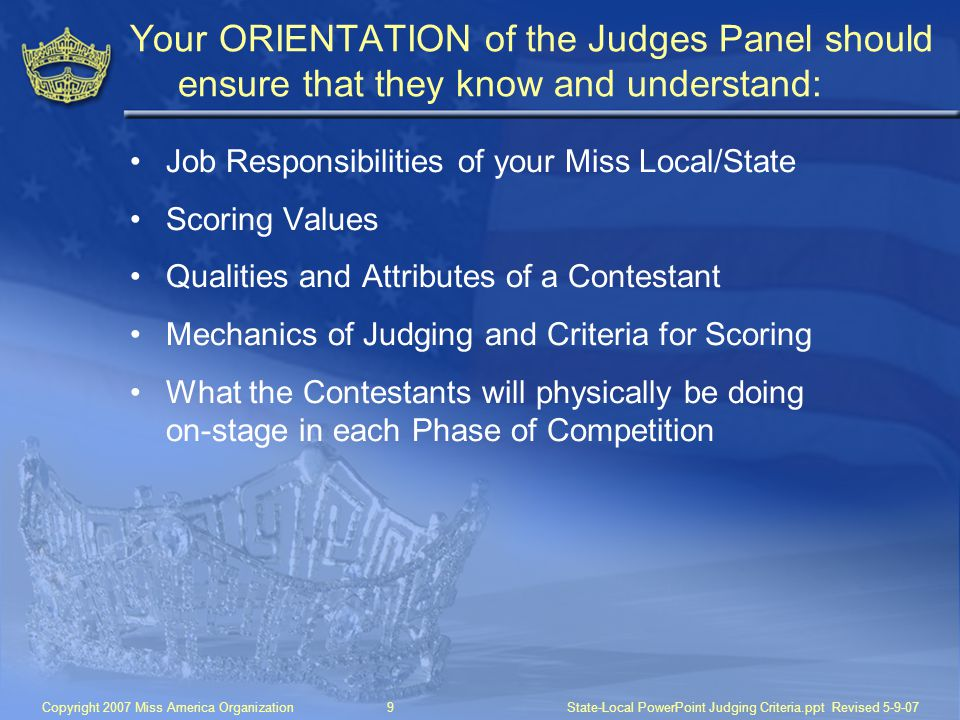 Your ORIENTATION of the Judges Panel should