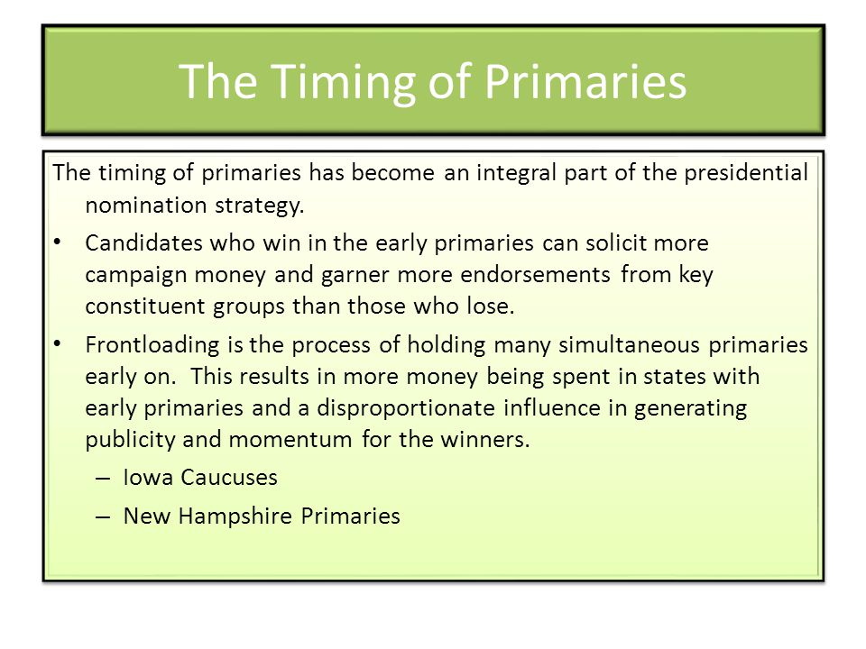 The Timing of Primaries