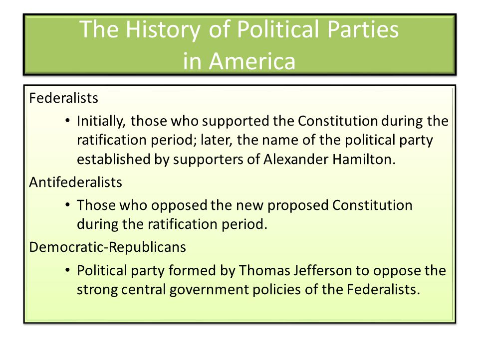 The History of Political Parties in America