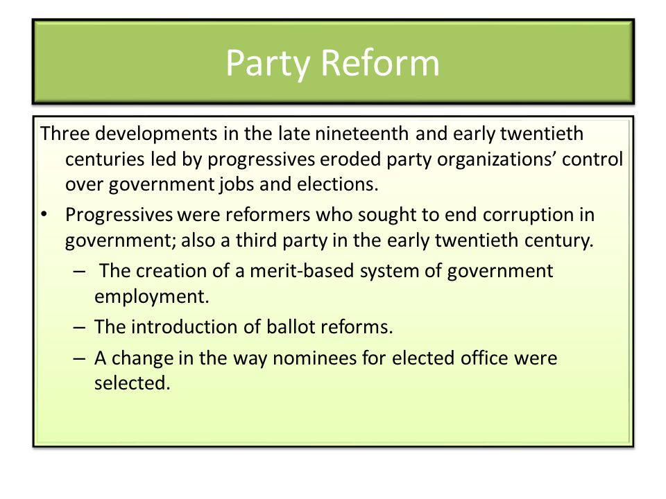 Party Reform