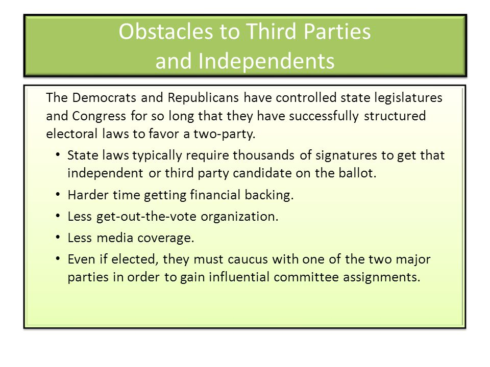 Obstacles to Third Parties and Independents