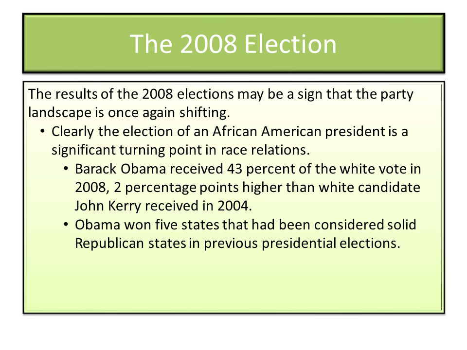 The 2008 Election The results of the 2008 elections may be a sign that the party landscape is once again shifting.