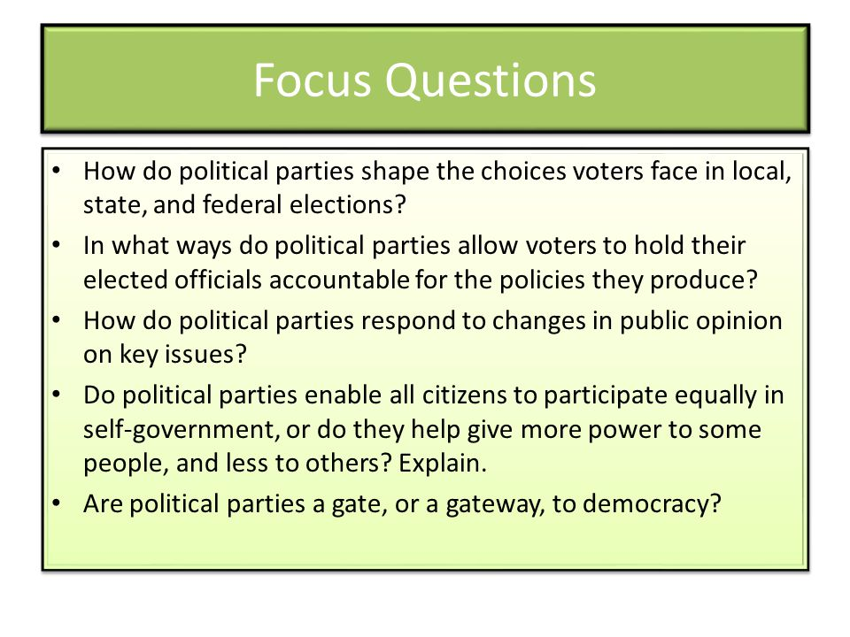 Focus Questions How do political parties shape the choices voters face in local, state, and federal elections