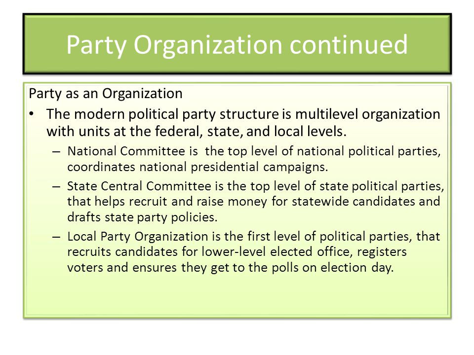Party Organization continued