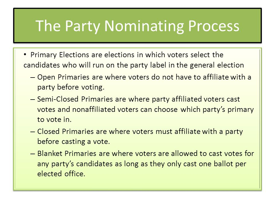 The Party Nominating Process