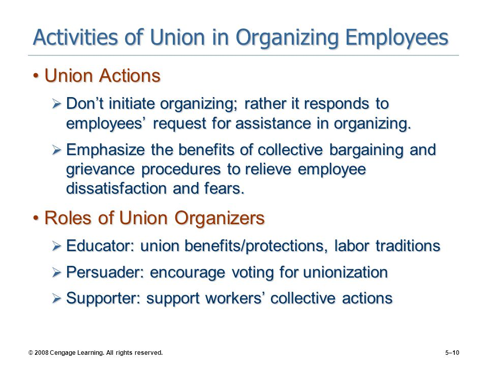 Activities of Union in Organizing Employees