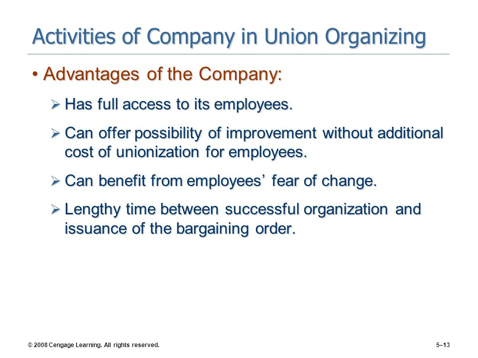 Activities of Company in Union Organizing