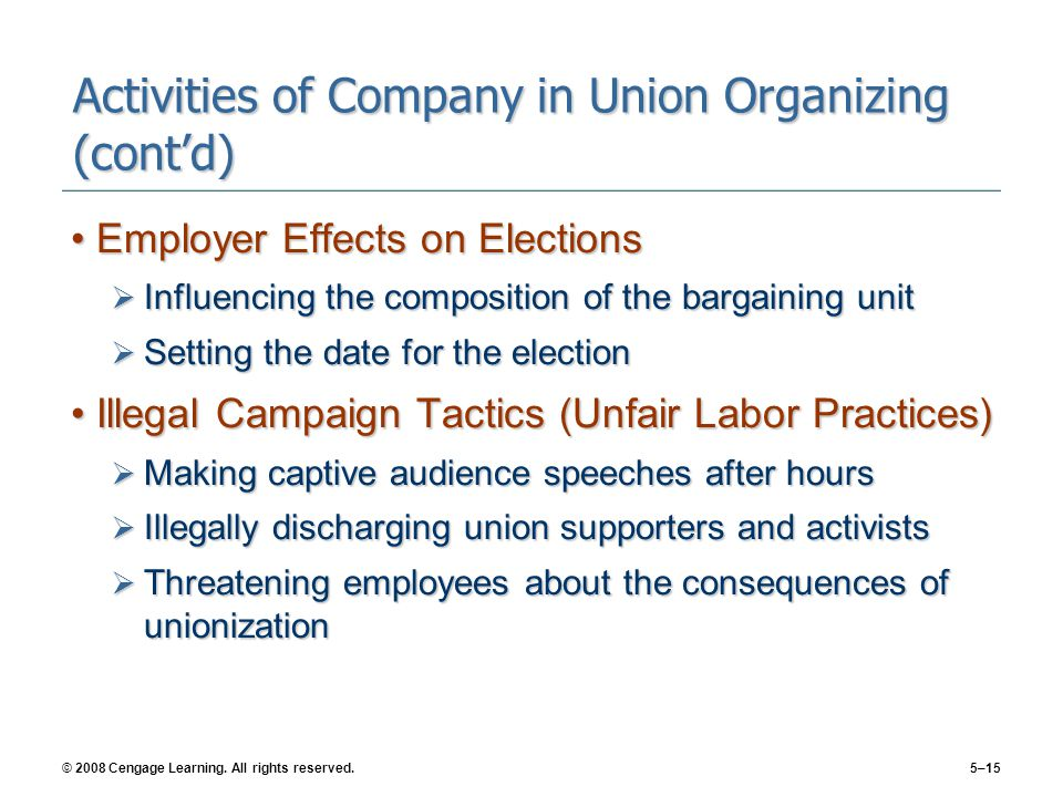 Activities of Company in Union Organizing (cont'd)