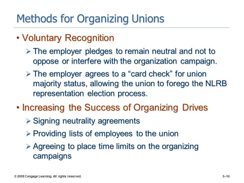 Methods for Organizing Unions