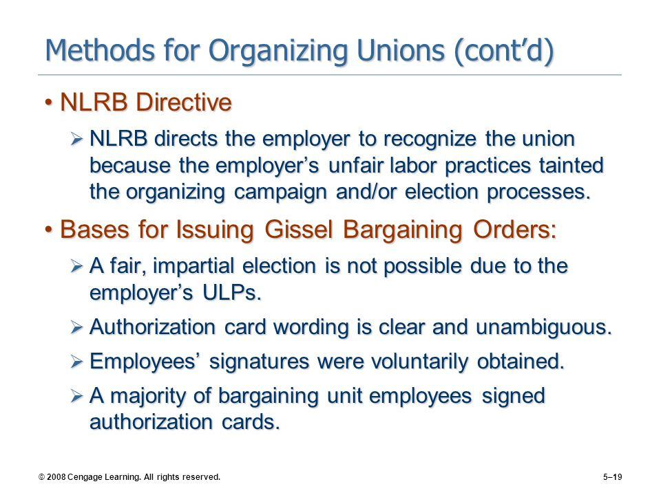 Methods for Organizing Unions (cont'd)