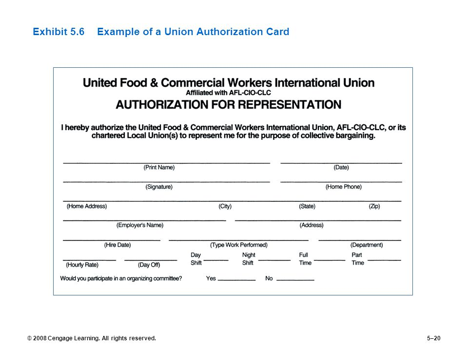 Exhibit 5.6 Example of a Union Authorization Card