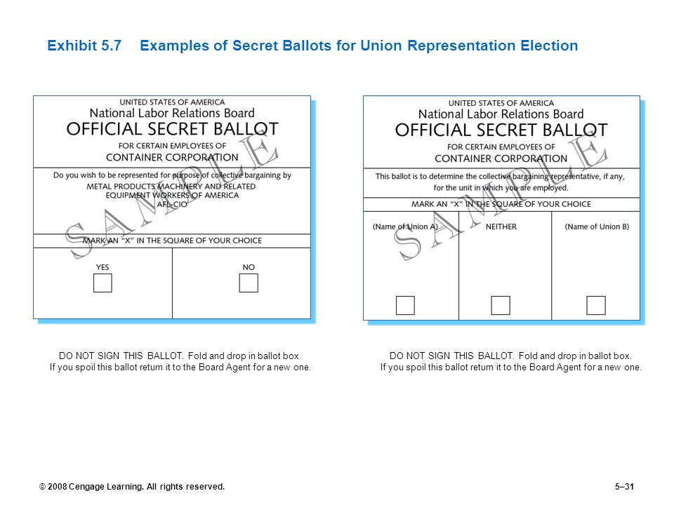 Exhibit 5.7 Examples of Secret Ballots for Union Representation Election