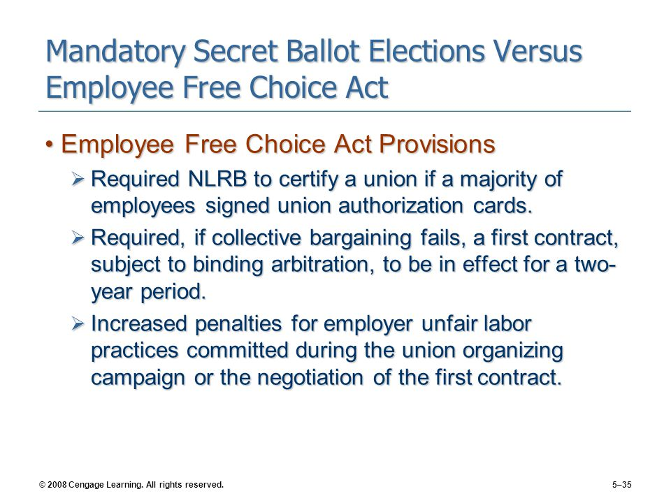Mandatory Secret Ballot Elections Versus Employee Free Choice Act