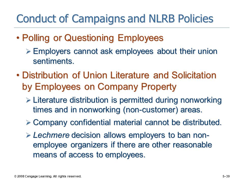 Conduct of Campaigns and NLRB Policies
