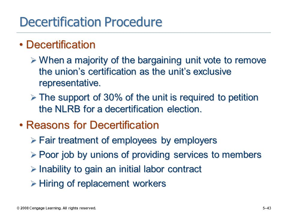 Decertification Procedure