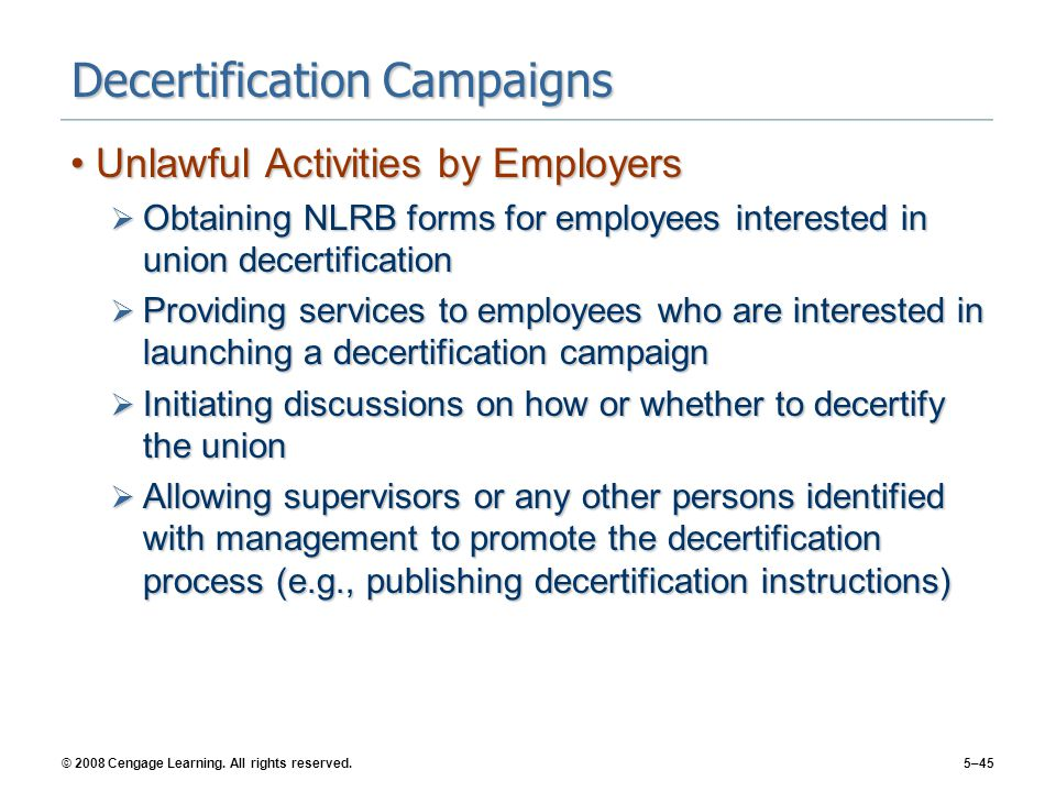Decertification Campaigns