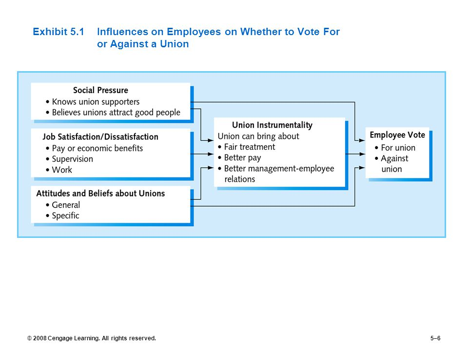 Exhibit 5.1 Influences on Employees on Whether to Vote For or Against a Union
