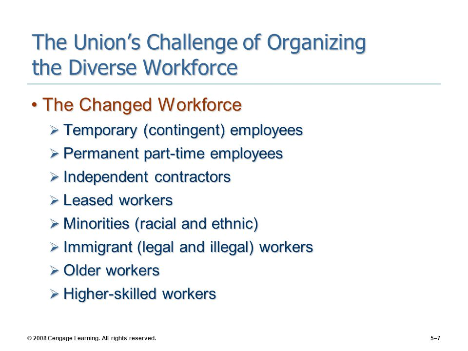The Union's Challenge of Organizing the Diverse Workforce