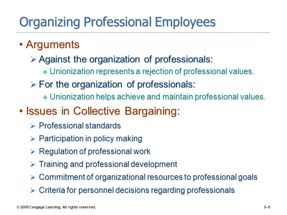 Organizing Professional Employees