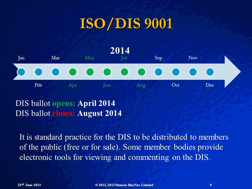 ISO/DIS 9001 2014 DIS ballot opens: April 2014