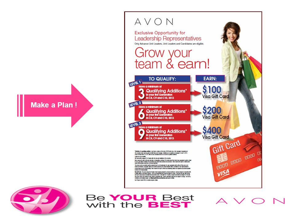 Make a Plan ! Make your plan to achieve now! Its as easy as growing your Team and you earn.