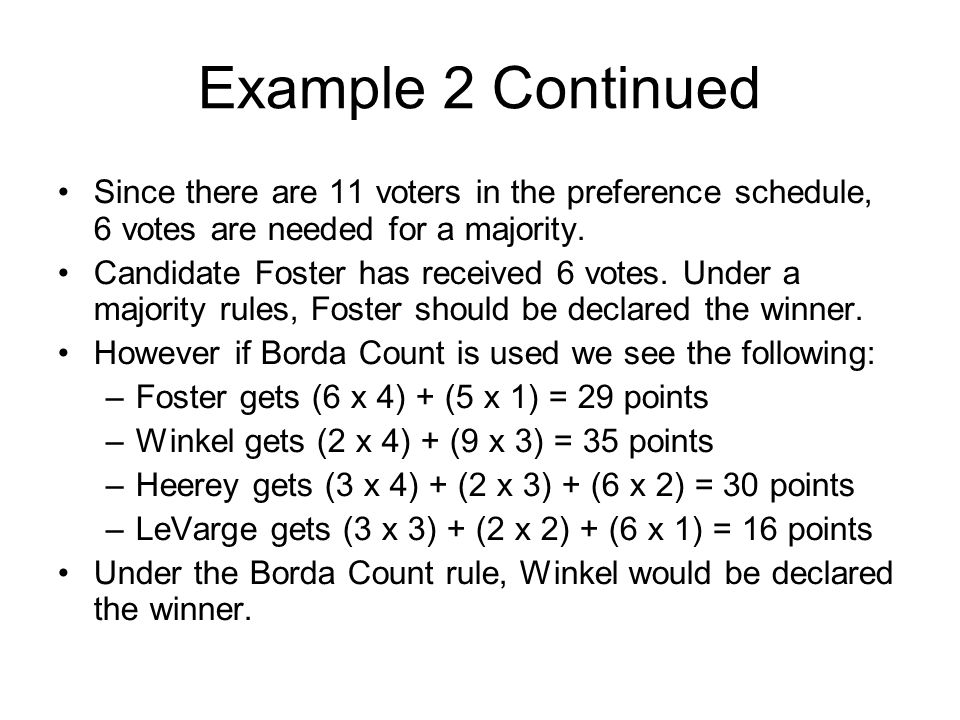 Example 2 Continued Since there are 11 voters in the preference schedule, 6 votes are needed for a majority.