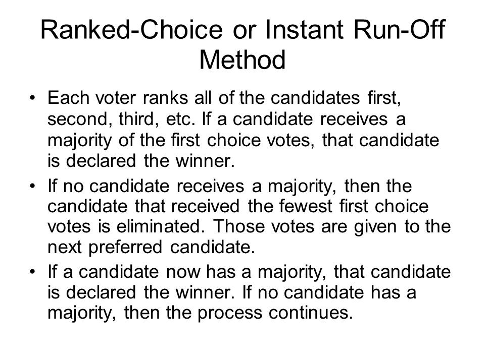 Ranked-Choice or Instant Run-Off Method
