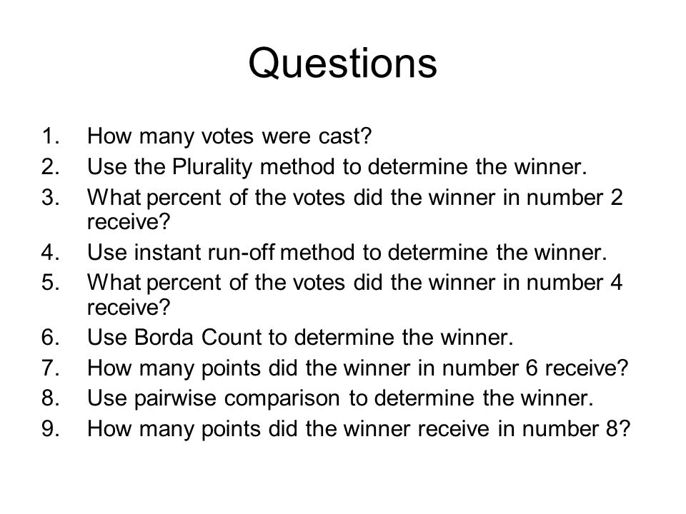 Questions How many votes were cast