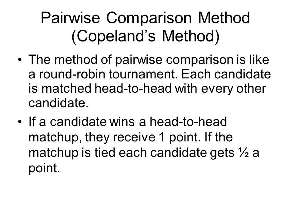 Pairwise Comparison Method (Copeland's Method)