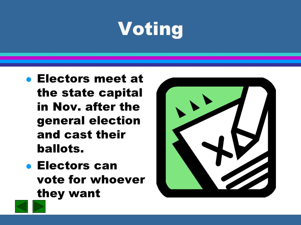 Voting Electors meet at the state capital in Nov. after the general election and cast their ballots.