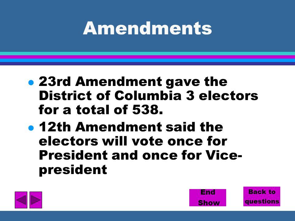 Amendments 23rd Amendment gave the District of Columbia 3 electors for a total of 538.