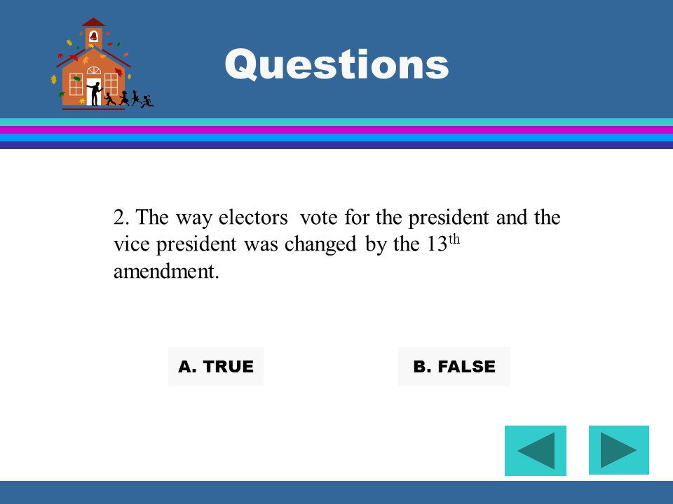 Questions 2. The way electors vote for the president and the vice president was changed by the 13th amendment.