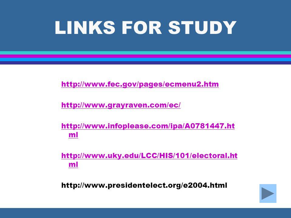 LINKS FOR STUDY http://www.fec.gov/pages/ecmenu2.htm