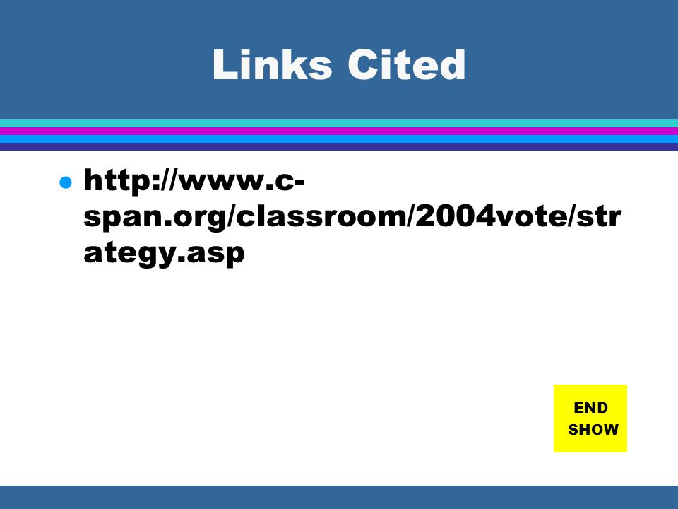 Links Cited http://www.c-span.org/classroom/2004vote/strategy.asp END