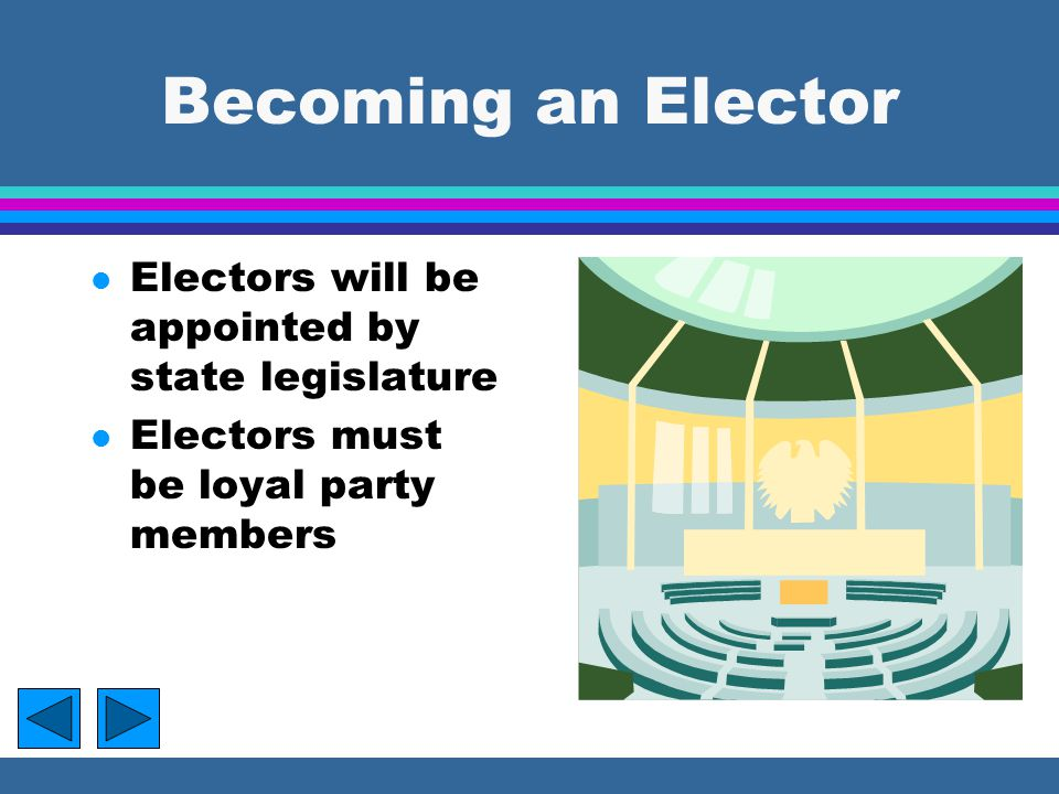 Becoming an Elector Electors will be appointed by state legislature