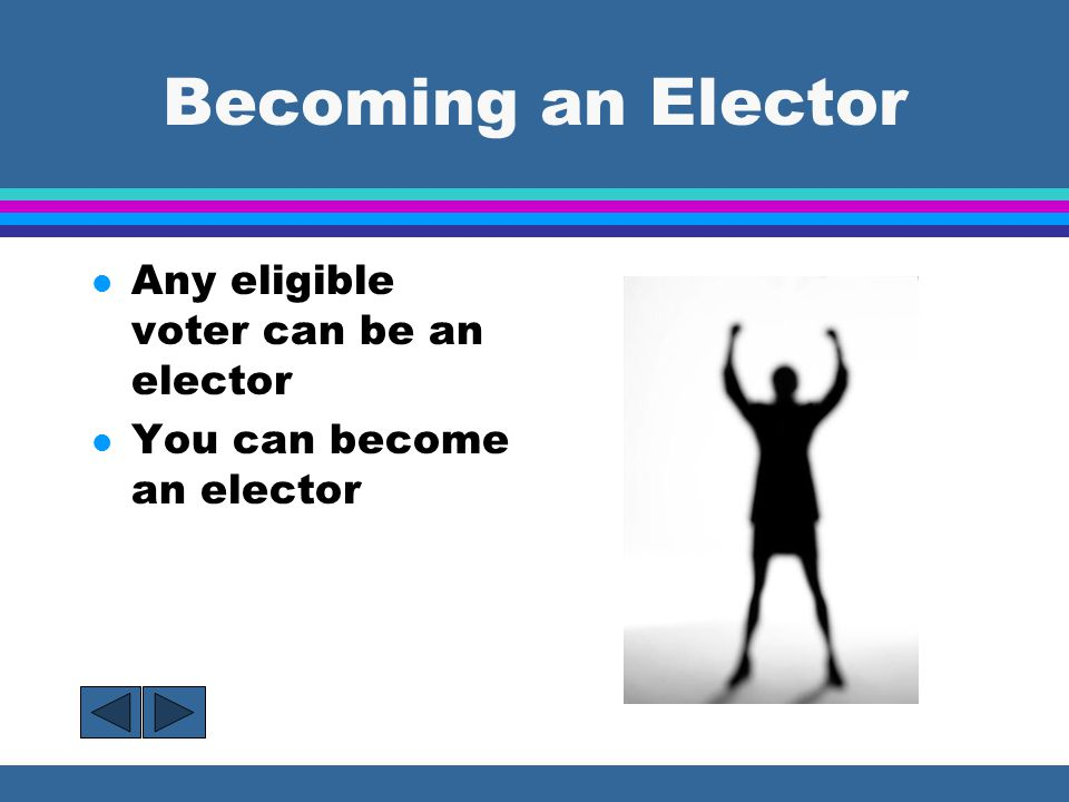 Becoming an Elector Any eligible voter can be an elector