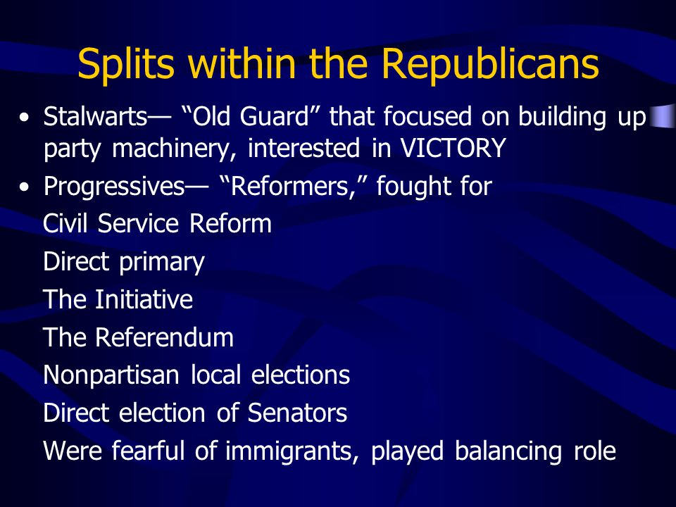 Splits within the Republicans