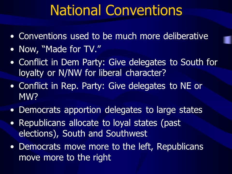 National Conventions Conventions used to be much more deliberative