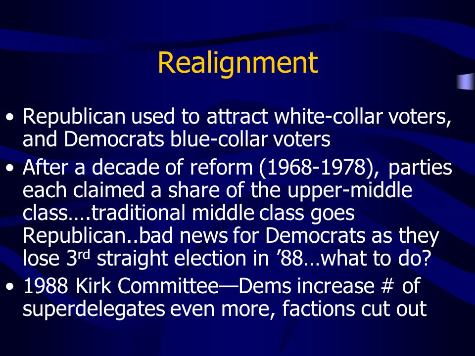 Realignment Republican used to attract white-collar voters, and Democrats blue-collar voters.